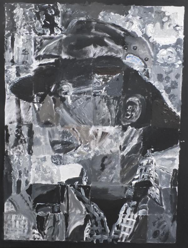 Poetische Variation eines realen Bildes durch 48 verschiedene Künstler, die individuell jeweils nur einen kleinen Ausschnitt gemalt haben, ohne das ganze Bild zu kennen: 'emergente Malerei'?