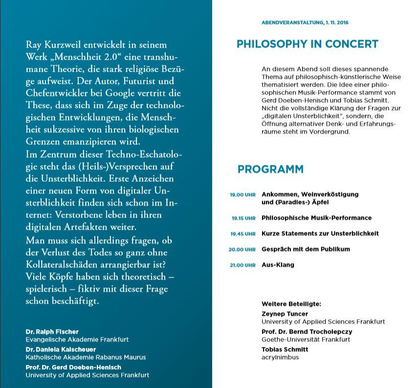 Philosophy-in-Concert als Gast bei der Evangelischen und Katholischen Akademie Frankfurt B