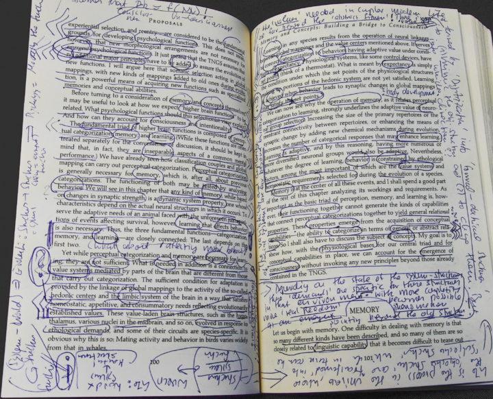 Beispiel, wie die Buchseiten aussehen, nachdem ich sie 'gelesen' habe ...
